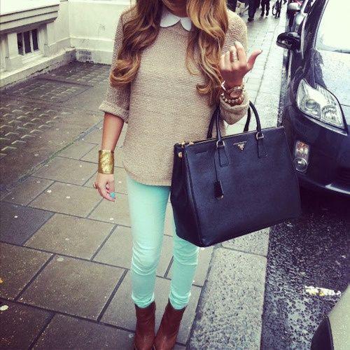 Mint: Mint Pants, Colors Pants, Mintgreen, Mint Green, Colors Jeans, Peter Pan Collars, Outfit, Mint Jeans, Green Pants