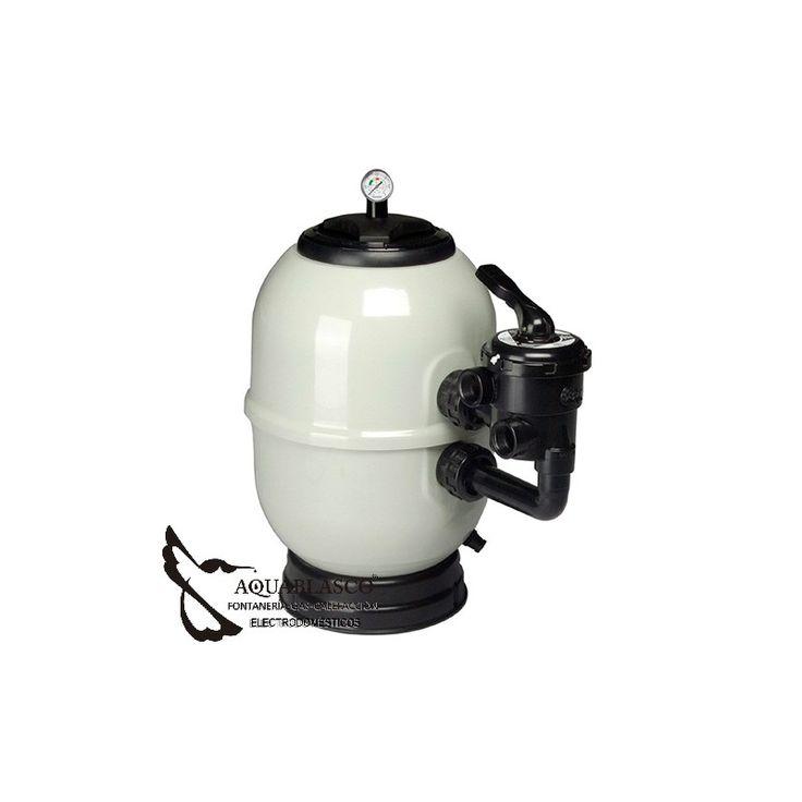 En www.aquablasco.com te ofrece este Filtro Profesional laminado en poliéster y fibra de vidrio.Incluye válvula selectora.Se incluye carga de silex mineral.Somos instaladores.