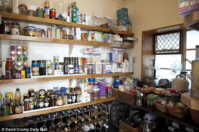 Kirstie's larder is so full, above, that her sister jokes she wants to be there in a nuclear winter