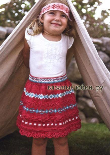 расклешенная детская вязаная юбка спицами фото