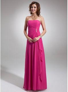 A-Line/Princess Sweetheart Floor-Length Chiffon Bridesmaid Dress With Beading Cascading Ruffles (007001085) - JJsHouse