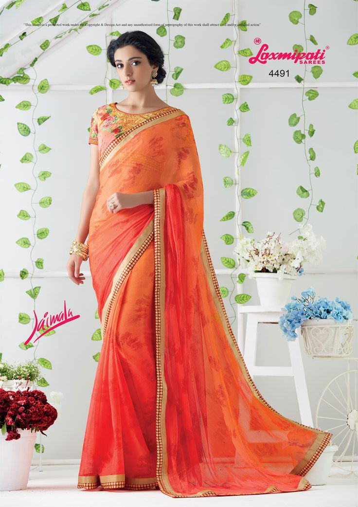 Glam up your wardrobe with this lively brown orange saree that will make you look like a gorgeous diva. Brown orange coloured georgette saree carrying multi coloured georgette blouse. #Catalogue #JAIMALA #Design Number: 4491 #Price - ₹ 2083.00.00 Visit for more #designs @ www.laxmipati.com/catalogue/jaimala