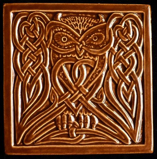 Handmade relief carved ceramic celtic owl art tile