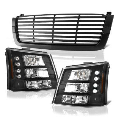 Chevy Silverado 1500 2003-2005 Black Front Grill and Headlights Conversion