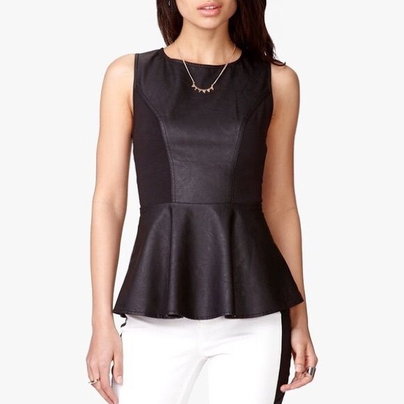 Black Faux Leather Peplum Top This Top is a must have!! <3 feel free to make an offer ^_^ Forever 21 Tops Tank Tops