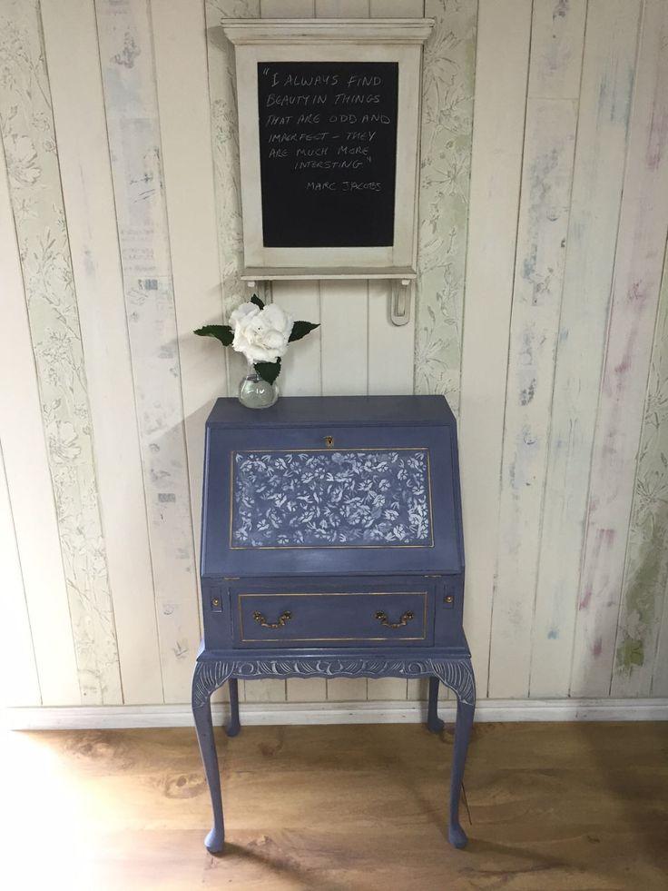 Writing desk, bureau, queen Anne style desk, hand painted desk, violet, Annie Sloan Chalk Paint by Orchardcottagefinds on Etsy https://www.etsy.com/uk/listing/520280135/writing-desk-bureau-queen-anne-style