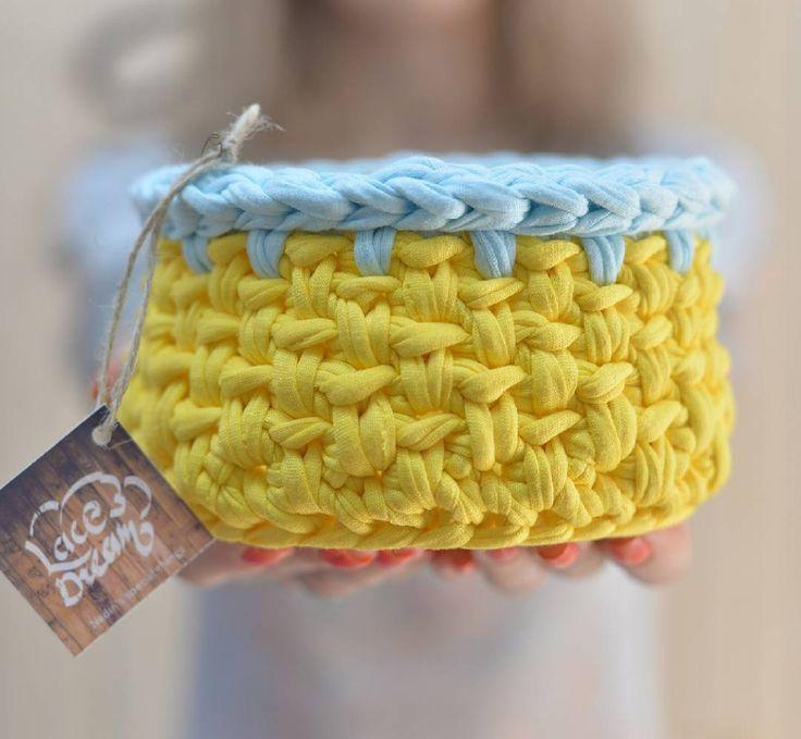 «Прошу любить и жаловать! Интерьерная корзинка солнечного цвета!!! Ярких цветов Вам в ленту)) d=13 см, h=9 см