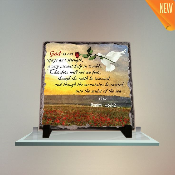 God is our refuge and strength, a very present help in trouble. Therefore will not we fear Psalm 46:1-2 Stone Plaques Home Decor Art by InspiraGifts on Etsy