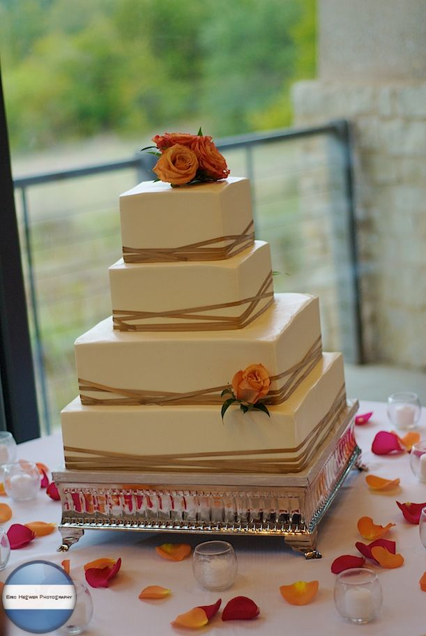 Fall Weddings At The Wildflower Center Square Wedding Cake Eric Square Wedding Cakes Pictures | Green Wedding Ideas