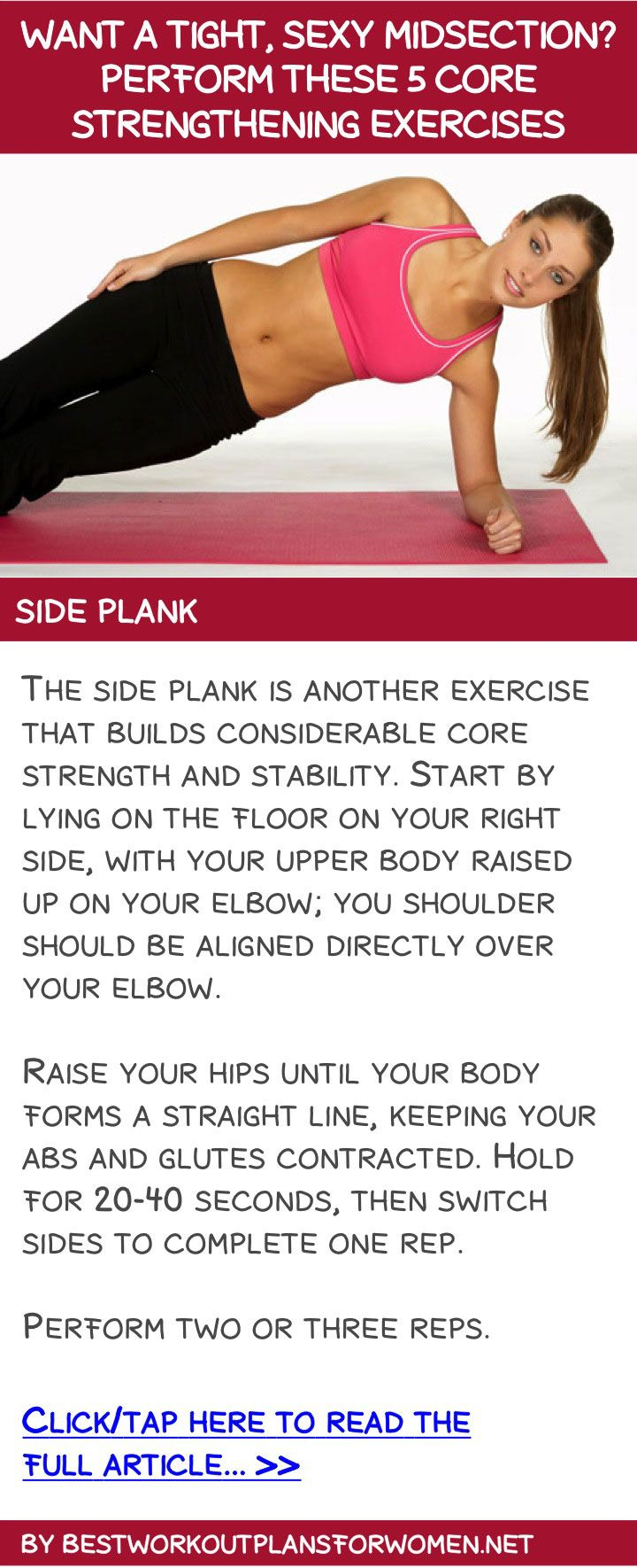 Want a tight, sexy midsection? Perform these 5 core strengthening exercises - Side plank ExperienceValentus.com/Janicej