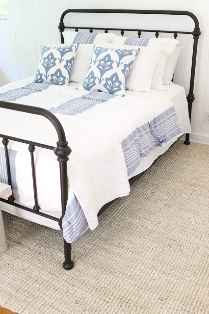 Iron Bed / Blue And White Bedding / Bleached Jute Rug Part 69
