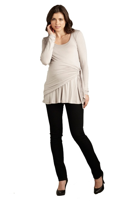 Side Tie Wrap Maternity Top by Maternal America | Maternity Clothes  Best selection of professional maternity clothes! available at Due Maternity www.duematernity.com