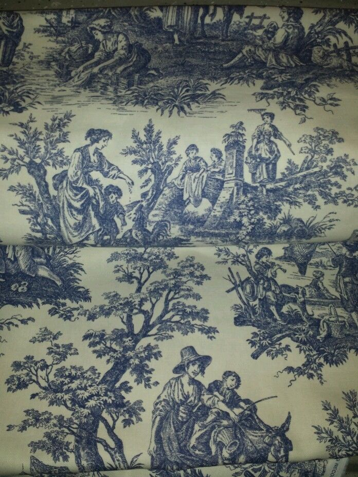 Waverly wedgewood blue cream french country life toile for French toile fabric