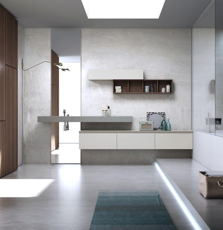 Anteprima della nuova presentazione dell'arredo bagno Puntotre, qui una soluzione con sistema gola #design #bagno #bathroom #arredamento #casa
