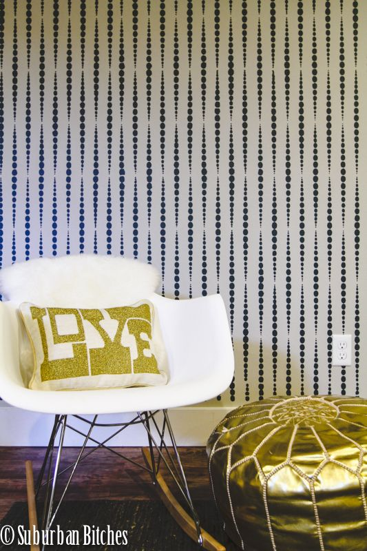 A DIY accent wall using the Beads Allover Stencil from Cutting Edge Stencils. http://www.cuttingedgestencils.com/beads-wall-stencil-pattern.html
