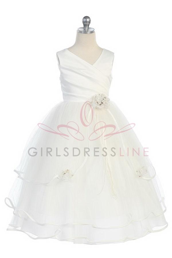 Ivory Satin & tulle long flower girl dress G3012I $61.95 on www.GirlsDressLine.Com