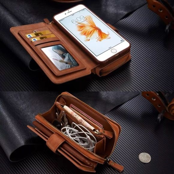 Multifunction Wallet Case iPhone 6 PLUS Brand New High Quality Multifunction zippered wallet case for iPhone 6 PLUS or 6s PLUS ‼️LOWEST PRICE‼️ Multifunction wallet case with zippers for bills and coins and many card slots.  •Color: Luggage brown •Size: 6 PLUS or 6s PLUS Accessories Phone Cases