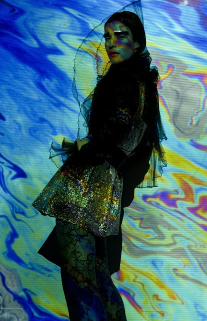 Futuristic Patterns  Photographer: Vanessa DeZutter  Stylist: Carmen Tsang  MUAH: Michelle Comtois  Model: Rachel, Numa Models  Light projections, patterns, colours, editorial, photo shoot,