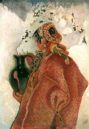 Kazimierz Sichulski Z Jordanu, 1918 Obecność dzbana w jej rękach wiąże się z przypadającym w styczniu świętem Chrztu Pańskiego, zwanym świętem Jordanu, kiedy to w kościele wschodnim i grecko-katolickim święci się wodę, zanurzając krzyż w rzece lub strumieniu. Poświęconą wodę zabiera się do domów.
