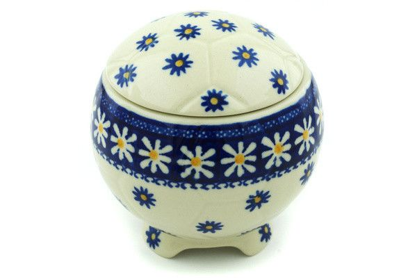 "Height: 4.53 Width: 4.33 Length: 4.33 Shop for more items in this TRADITIONAL pattern: #542 Shop for more items in this style: caB82 This Polish Pottery Stoneware 5"" Soccer Ball Box - 542 is handmade"