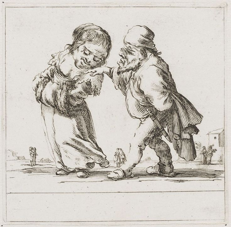 An Old Dwarf Courts a Young Female Dwarf who Holds Her Hands in Her Muff