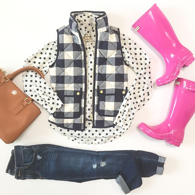 StylishPetite.com | .Crew PETITE EXCURSION QUILTED VEST IN BUFFALO CHECK, J.Crew polka dot popover shirt, Loft modern distressed jeans, polkadots and gingham outfits, Tory Burch mini Robinson bag in luggage