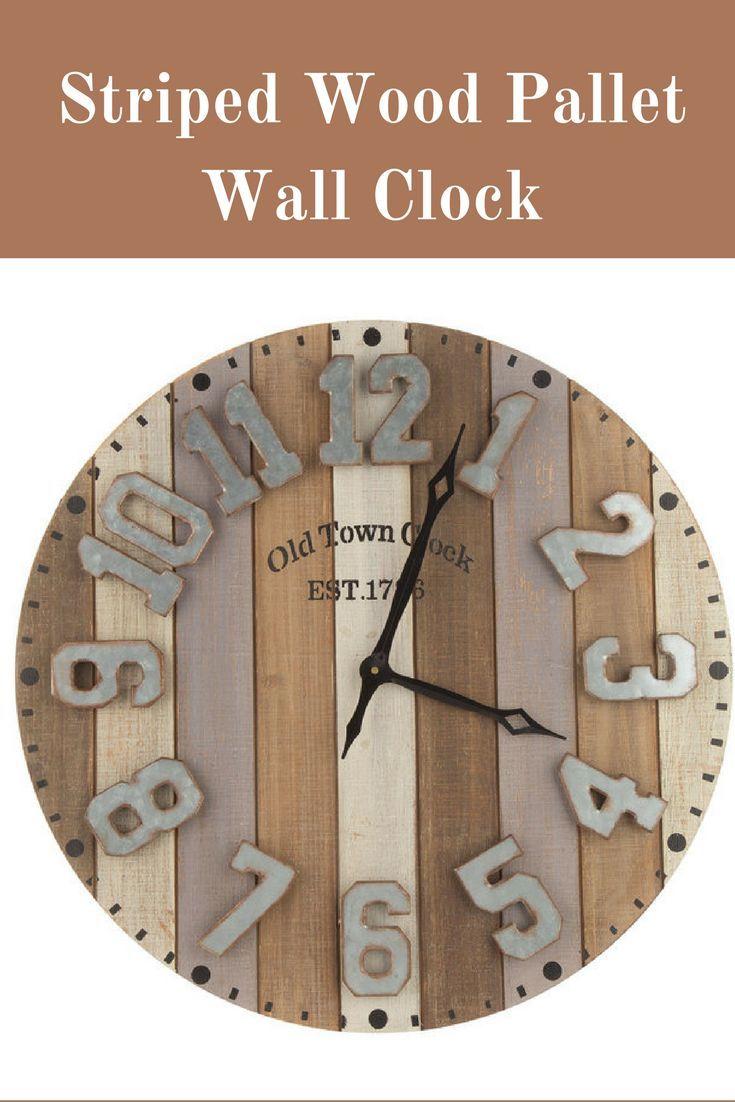 Striped Wood Pallet Wall Clock Farmhouse Clock Ad Clock