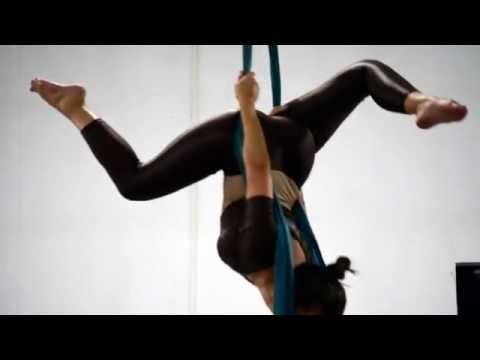 simple moves. Aerial silk routine - training - YouTube
