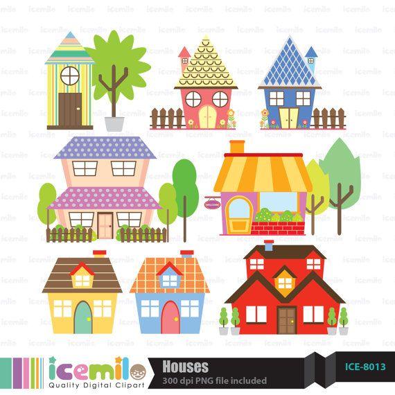 Houses Digital Clipart