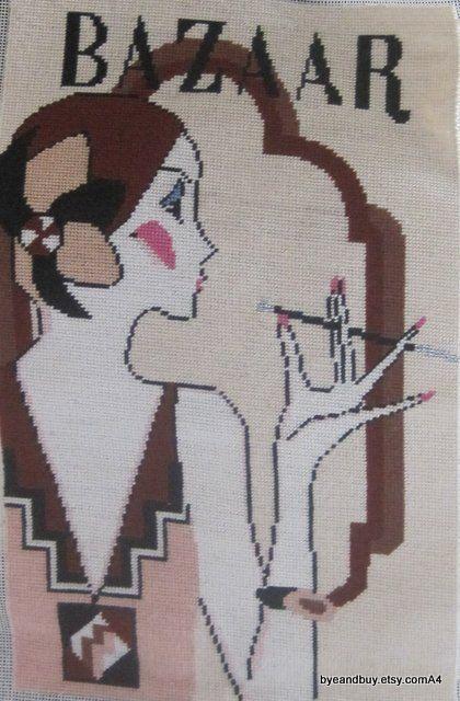 Art Deco Screen Printed Needlepoint Canvas Bazaar by byeandbuy