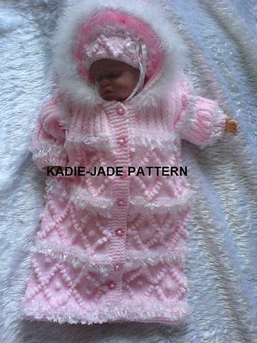 A Knitting pattern to make a Hooded Snowsuit & Hat for Baby in size 0-6 months. Pattern requires double knitting yarn and full instructions on how to knit in the lace is provided in the pattern