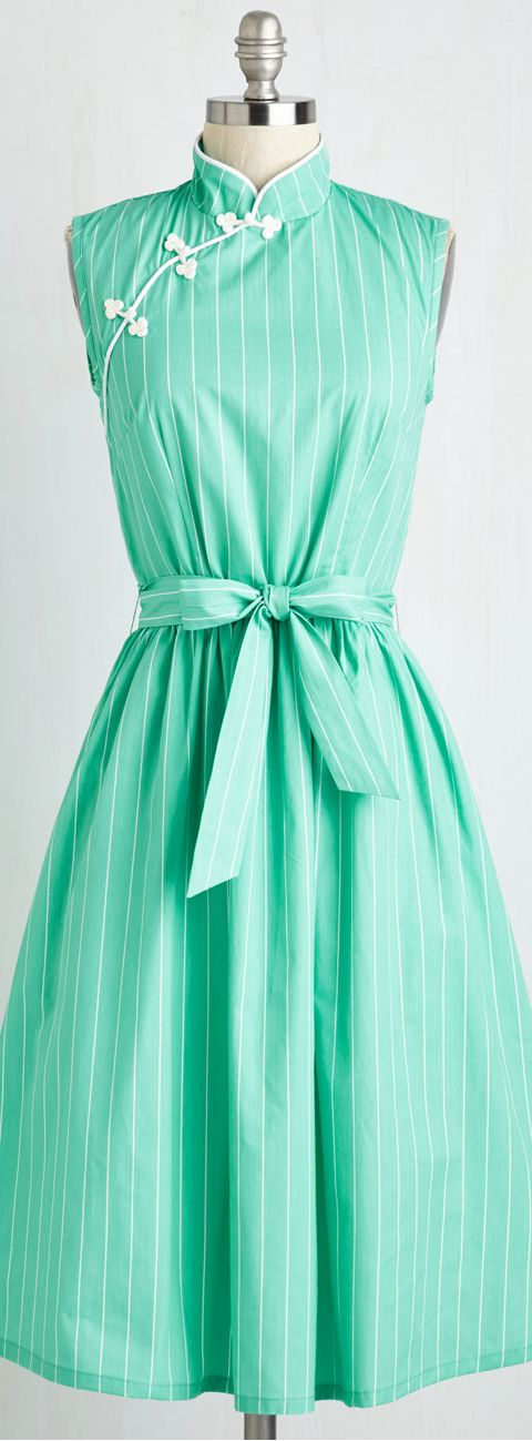 mint mandarin collar dress