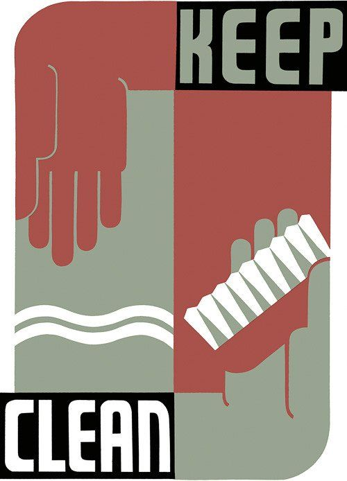 Keep Clean. 1939 WPA Federal Art Project poster promoting good hygiene. Work Projects Administration Poster Collection.