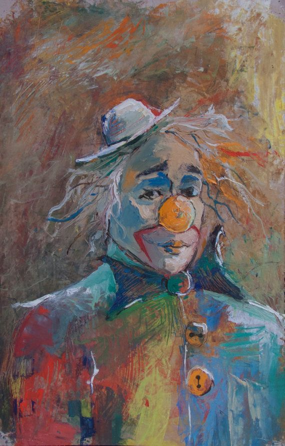 Vintage Clowns Velvet Paintings Black