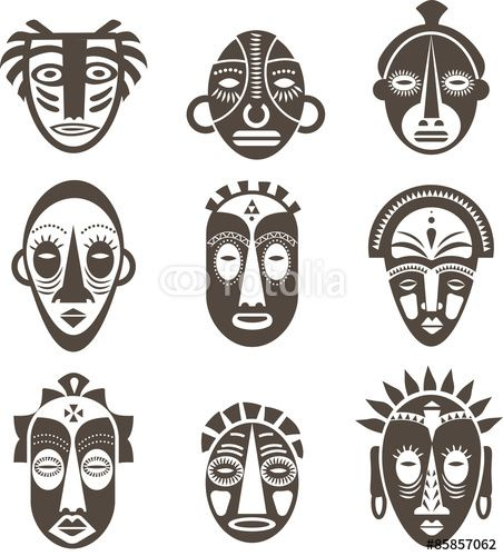 """Download the royalty-free vector """"African masks set"""" designed by Marina Zlochin at the lowest price on Fotolia.com. Browse our cheap image bank online to find the perfect stock vector for your marketing projects!"""