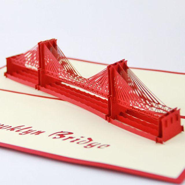 3D Brug Groet Pop UP Kaarten Handgemaakte Kirigami Trouwkaarten Post Kaart Verjaardagscadeau Papier Ambachtelijke