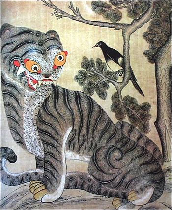 Korean Folk tiger painting featuring magpie