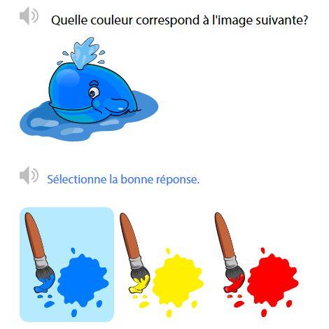 Math en ligne Maternelle Maternelle - Associer les éléments aux couleurs qui conviennent. Différencier les couleurs primaires.