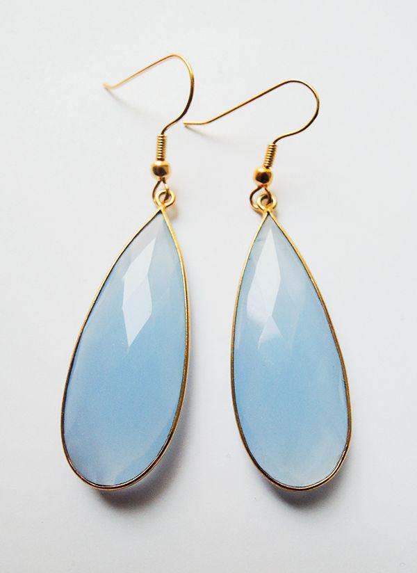 Smoke Blue Chalcedony Earrings