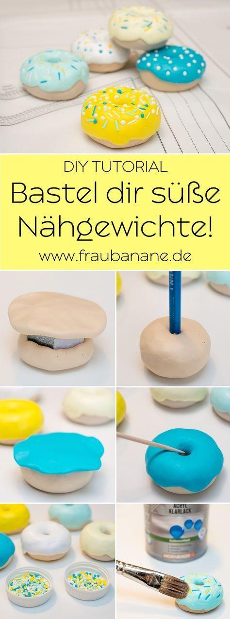 { Anleitung } Donut Nähgewichte aus Fimo