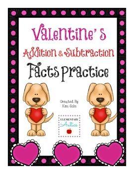 Valentine's Addition & Subtraction Facts Practice Freebie
