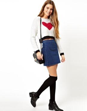 Image 1 ofASOS A-Line Denim Skirt in Blue