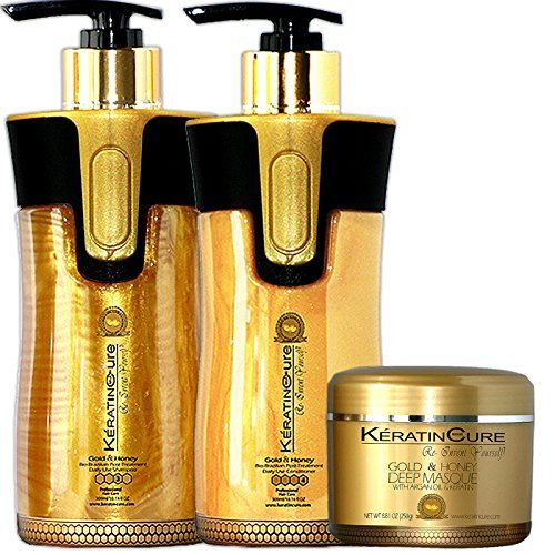 Keratin Cure-Sulfate Free 3 piece set great for Keratin/Color After-Care Kit Argan Enhanced 10 oz and 250 g Gold and Honey Shampoo - Conditioner - Masque -Champu y Mascarilla De Keratina y Miel * Want to know more, click on the image.
