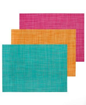 Here comes the fun. Chilewich gets into the swing of spring, crafting classic Basketweave placemats in bright new colors. Durable vinyl is welcome sight at any table, indoors and out. | Vinyl | Wipe c
