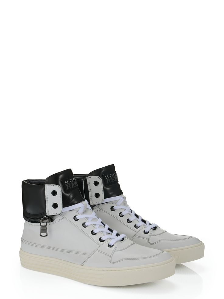 Hogan Rebel - R206 - HXM2060L4504V70001 - Leather high-top sneakers with exposed stitching, back zip and detachable padded ankle collar. For an urban look. - Leather upperPadded ankle collar with zipRubber outsoleArticle made of carefully selected hides, which, because of the special type of working it undergoes, it becomes soft. This item, therefore, is subject to scratches and abrasions. Very delicate leatherIn case of contact with water, the leather has to be protected and