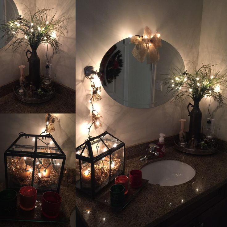 Powder room. Christmas Decor. Conseguí estas piezas em un thrift store. Good finds, inexpensive ideas