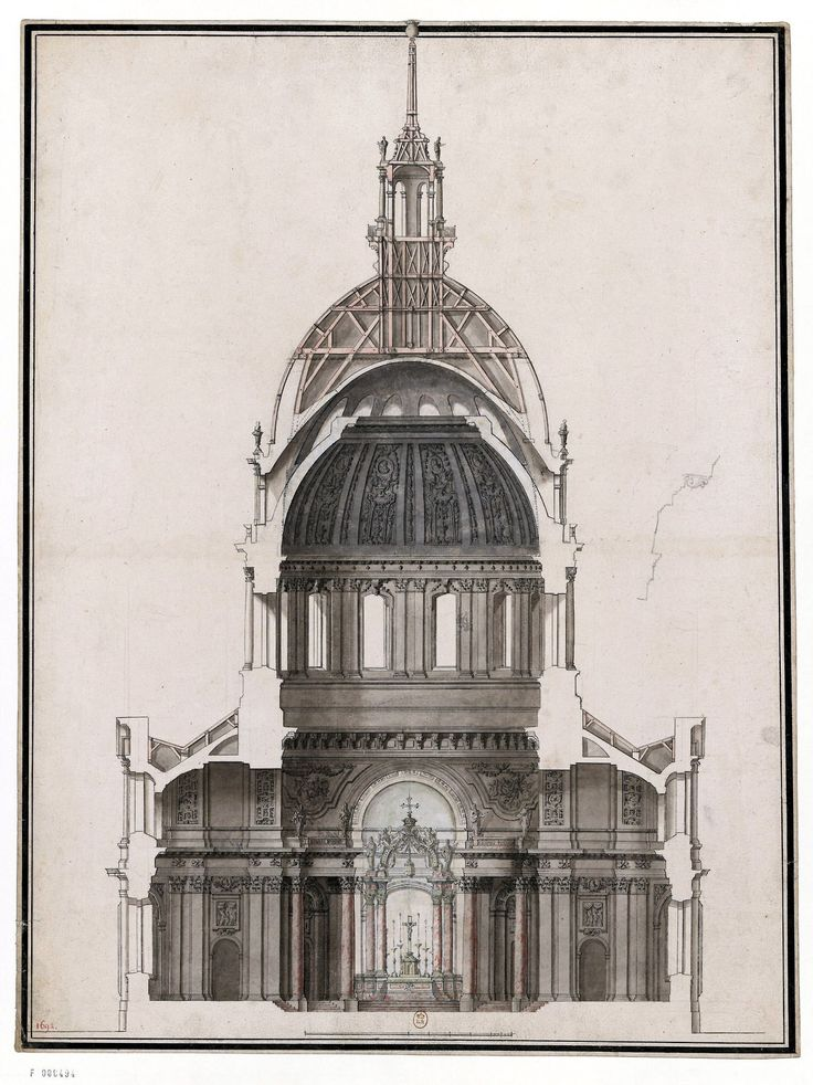 Section of the dome des invalides in 1691 paris badass for Architecture 54