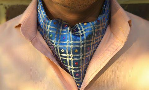 HORATIO Woven Silk Cravat #cravat #ascot #tie #daycravat #silkcravat #silk #cravats #ascots #madeinengland #wedding #groom #groomswear #weddingideas #idea #grooms #style #weddingstyle #outfit #inspiration #weddingguest #guest #usher #ushers #buybritish #accessories #dapper #gentleman #cravatclub #blue #polkadot #spots #bluecravat