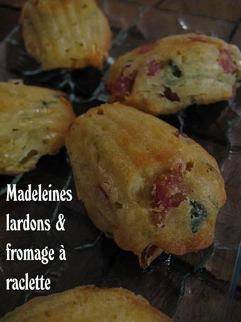 Madeleines aux lardons et fromage à raclette