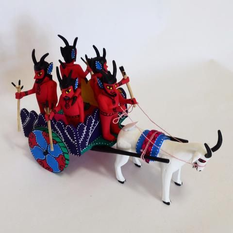 Calixto Santiago Lopez - Hand Carved Diablos Cart